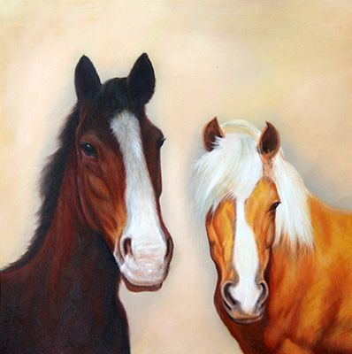 Oil painting of 2 horses