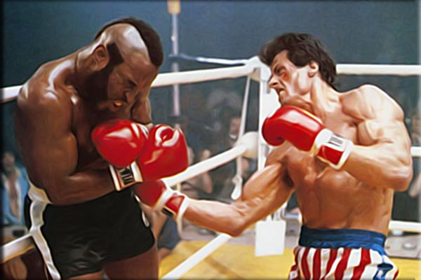 Painting of Rocky Balboa vs Clubber Lang