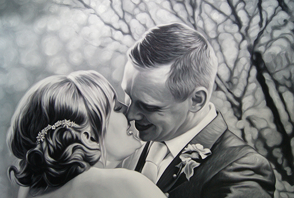 Oil Painting of The Bride and Groom