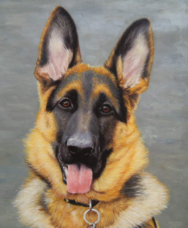 painting of an alsatian
